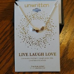Unwritten Tri Color Heart Necklace